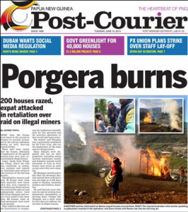 Porgera Burns read the headline in PNG's national paper
